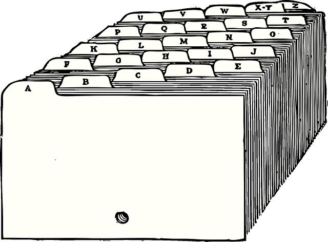 složky kartotéky